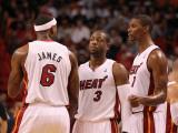 Washington Wizards v Miami Heat: LeBron James, Dwyane Wade and Chris Bosh Photographic Print by Mike Ehrmann