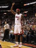 Detroit Pistons v Miami Heat: LeBron James Photographic Print by Mike Ehrmann