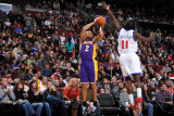 Los Angeles Lakers v Philadelphia 76ers: Derek Fisher and Jrue Holiday Photographic Print by Jesse D. Garrabrant