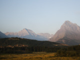 Blurry Image of Sunrise on the Peaks of Many Glacier, Mt Photographic Print by Michael Hanson