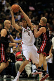 Miami Heat v Milwaukee Bucks: Andrew Bogut, Zydrunas Ilgauskas and Carlos Arroyo Photographic Print by Jonathan Daniel
