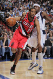 Portland Trail Blazers v Dallas Mavericks: Andre Miller and Jason Terry Photographic Print by Glenn James