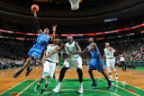Oklahoma City Thunder v Boston Celtics: Russell Westbrook and Rajon Rondo Photographic Print by Brian Babineau