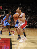 Oklahoma City Thunder v Toronto Raptors: Russell Westbrook and Jose Calderon Photographic Print by Ron Turenne