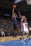 Atlanta Hawks v Detroit Pistons: Al Horford and Charlie Villanueva Photographic Print by Allen Einstein