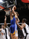 Golden State Warriors v San Antonio Spurs: Lou Amundson, George Hill and Ime Udoka Photographic Print by D. Clarke Evans