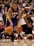 Los Angeles Lakers v Los Angeles Clippers: Shannon Brown and Baron Davis Photographic Print by Stephen Dunn