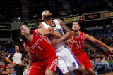 Houston Rockets v Sacramento Kings: DeMarcus Cousins, Shane Batter and Luis Scola Photographic Print by Rocky Widner