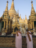 Buddhist Nuns at the Shwedagon Pagoda Photographic Print by Alison Wright