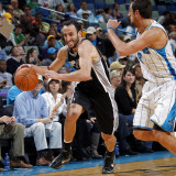 San Antonio Spurs v New Orleans Hornets: Manu Ginobili and Marco Belinelli Photographic Print by Layne Murdoch