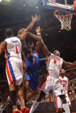 New York Knicks v Detroit Pistons: Amar'e Stoudemire, Tracy McGrady and Ben Wallace Photographic Print by Allen Einstein