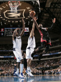 Miami Heat v Dallas Mavericks: Dwyane Wade, Dirk Nowitzki and Ian Mahinmi Photographic Print by Glenn James