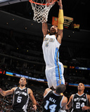 San Antonio Spurs v Denver Nuggets: J.R. Smith, Ime Udoka, Gary Neal and Richard Jefferson Photographic Print by Garrett Ellwood