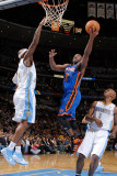 New York Knicks v Denver Nuggets: Raymond Felton and Chauncey Billups Photographic Print by Garrett Ellwood
