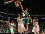 Boston Celtics v Charlotte Bobcats: Semih Erden and Gerald Wallace Photographic Print by Kent Smith