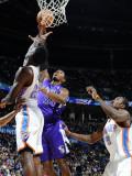 Sacramento Kings v Oklahoma City Thunder: Jeff Green, Serge Ibaka and Jason Thompson Photographic Print by Larry W. Smith