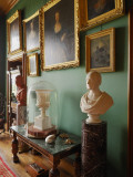 Framed Pictures and Sculpture Adorn a Green Room in Balfour Castle Photographic Print by Jim Richardson