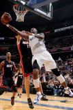 Miami Heat v Washington Wizards: Zydrunas Ilgauskas and Andray Blatche Photographic Print by Greg Fiume