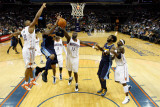 Denver Nuggets v Charlotte Bobcats: Carmelo Anthony, Boris Diaw and Nazr Mohammed Photographic Print by Streeter