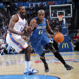 Minnesota Timberwolves v Oklahoma City Thunder: Anthony Tolliver and Jeff Green Photographic Print by Layne Murdoch