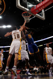Golden State Warriors v Los Angeles Lakers: Jeff Adrien, Sasha Vujucic and Derrick Caracter Photographic Print by Stephen Dunn