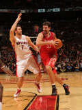 Houston Rockets v Toronto Raptors: Brad Miller and Andrea Bargnani Photographic Print by Ron Turenne