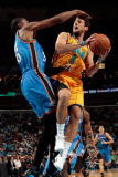 Oklahoma City Thunder v New Orleans Hornets: Marco Belinelli and Kevin Durant Photographic Print by  Chris