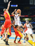 Houston Rockets v Oklahoma City Thunder: Thabo Sefolosha, Shane Battier and Kyle Lowry Photographic Print by Larry W. Smith