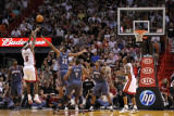 Charlotte Bobcats v Miami Heat: LeBron James and Boris Diaw Photographic Print by Mike Ehrmann