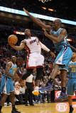 New Orleans Hornets v Miami Heat: Dwyane Wade and Emeka Okafor Photographic Print by Mike