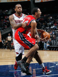 New Jersey Nets v Atlanta Hawks: Devin Harris and Josh Powell Photographic Print by Kevin Cox