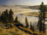 Veiled in Morning Mist, the Yellowstone River Winds Through Hayden Valley Photographic Print by Raymond Gehman