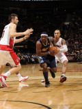 Denver Nuggets v Toronto Raptors: Ty Lawson and Jerryd Bayless Photographic Print by Ron Turenne