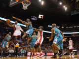 New Orleans Hornets v Miami Heat: Dwyane Wade and Emeka Okafor Photographic Print by Mike Ehrmann
