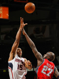 New Jersey Nets v Atlanta Hawks: Al Horford and Johan Petro Photographic Print by Kevin Cox