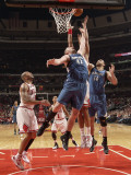 Minnesota Timberwolves v Chicago Bulls: Kevin Love, Nikola Pekovic and Joakim Noah Photographic Print by Ray Amati