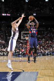 Atlanta Hawks v New Jersey Nets: Marvin Williams and Troy Murphy Photographic Print by David Dow