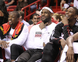 Phoenix Suns v Miami Heat: Dwyane Wade, LeBron James and Chris Bosh Photographic Print by Mike Ehrmann