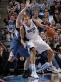 Minnesota Timberwolves v Dallas Mavericks: Dirk Nowitzki and Kevin Love Photographic Print by Glenn James