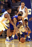 New York Knicks v Golden State Warriors: Reggie Williams, Dorell Wright and Wilson Chandler Photographic Print by Ezra Shaw