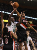 Portland Trail Blazers v Boston Celtics: Marquis Daniels, Marcus Camby and Patrick Mills Photographic Print by  Elsa