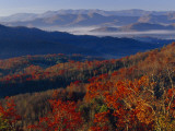 Fog Lying in Mountain Valleys in the Early Morning in Autumn Photographic Print by Raymond Gehman