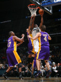 Los Angeles Lakers v Washington Wizards: Trevor Booker, Matt Barnes and Luke Walton Photographic Print by Ned Dishman