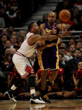 Los Angeles Lakers v Chicago Bulls: Derek Fisher and Derrick Rose Photographic Print by Jonathan Daniel