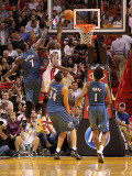 Washington Wizards v Miami Heat: Joel Anthony and Andray Blatche Photographic Print by Mike Ehrmann