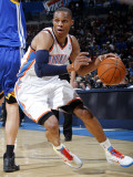 Golden State Warriors v Oklahoma City Thunder: Russell Westbrook Photographie par Layne Murdoch
