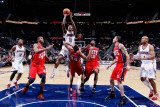 New Jersey Nets v Atlanta Hawks: Jamal Crawford, Devin Harris, Josh Powell, Derrick Favors, Damion  Photographic Print by Kevin Cox
