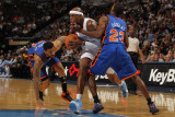 New York Knicks v Denver Nuggets: Al Harrington, Toney Douglas and Wilson Chandler Photographic Print by Doug Pensinger