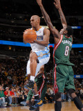 Milwaukee Bucks v Denver Nuggets: Chauncey Billups and Larry Sanders Photographic Print by Garrett Ellwood