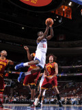 Cleveland Cavaliers  v Philadelphia 76ers: Jrue Holiday and erson Varejao and Mo Williams Photographic Print by Jesse D. Garrabrant
